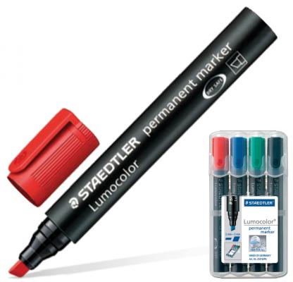 Набор маркеров перманентных Staedtler Lumocolor 2.5 мм 4 шт синий зеленый черный красный