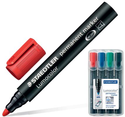 Набор маркеров перманентных Staedtler Lumocolor 2 мм 4 шт синий зеленый черный красный