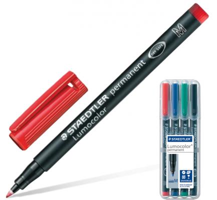 Набор маркеров перманентных Staedtler Lumocolor 1 мм 4 шт синий зеленый черный красный плитка облицовочная cersanit blackstone черный 250х350х7 мм 16 шт 1 4 кв м