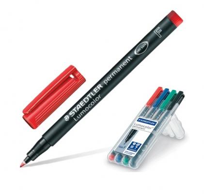Набор маркеров перманентных Staedtler Lumocolor 0.6 мм 4 шт синий зеленый черный красный маркер для флипчарта staedtler lumocolor 2 5 мм 4 шт синий зеленый черный красный