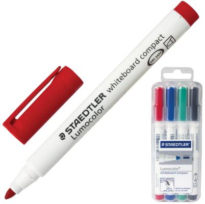 Набор маркеров для доски Staedtler Lumocolor 1-2 мм 4 шт синий зеленый черный красный маркер для флипчарта staedtler lumocolor 2 5 мм 4 шт синий зеленый черный красный