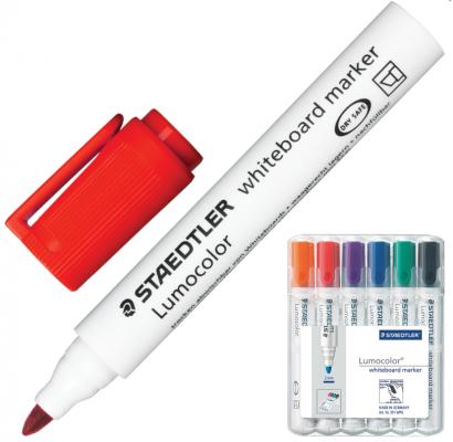 Набор маркеров для доски Staedtler Lumocolor 2 мм 6 шт оранжевый красный фиолетовый синий зеленый черный маркер для флипчарта staedtler lumocolor 2 5 мм 4 шт синий зеленый черный красный