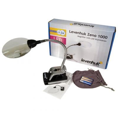 лучшая цена Лупа LEVENHUK Zeno 1000, увеличение х2,5/х5, диаметр линз 88/21 мм, подсветка, зажим, металл, 38119