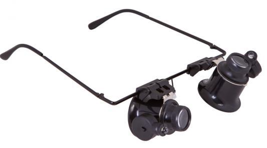Лупа-очки LEVENHUK Zeno Vizor G2, увеличение х20, диаметр линз 15 мм, подсветка, металл/пластик, 69672 окуляр levenhuk левенгук uwa 58° 15 мм 1 25