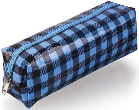 Пенал-косметичка BRAUBERG, пвх, голубой-черный, клетка, 20х6х5 см, 223271 еж стайл пенал косметичка sofia find my story