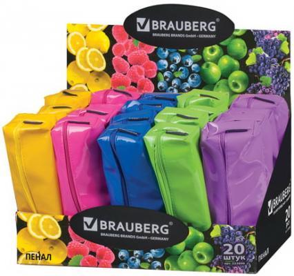 Пенал-косметичка BRAUBERG, под искусственную кожу, ассорти 5 цветов, Блеск, 20х6х4 см, дисплей, 223896