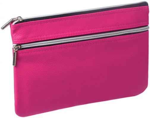 Пенал-косметичка BRAUBERG под фактурную кожу, розовый, 1 отделение, 2 кармана, Монро, 24х17 см, 224037 brauberg пенал косметичка brauberg монро розовый