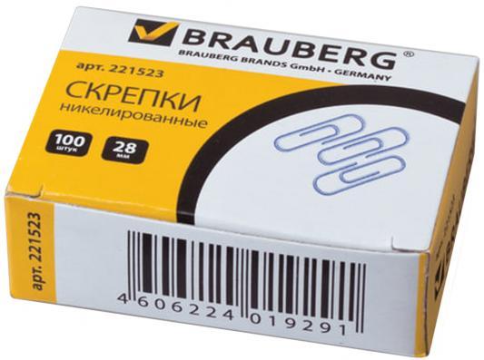 цены Скрепки BRAUBERG - 100 шт 28 мм серебристый