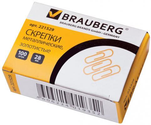 Фото - Скрепки BRAUBERG, 28 мм, золотистые, 100 шт., в картонной коробке, 221529 скрепки staff 50 мм никелированные 50 шт в картонной коробке 226759