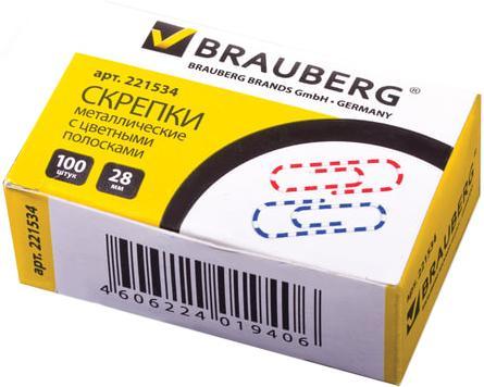 Скрепки BRAUBERG - 100 шт 28 мм разноцветный