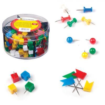 Набор BRAUBERG, силовые кнопки, 60 шт., шарики 60 шт., кубики 60 шт., флажки 60 шт., 223518 кнопки силовые index ispp3020 40 шт 20 мм разноцветный