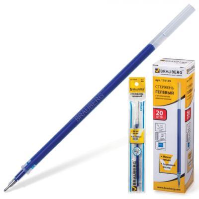 Стержень гелевый BRAUBERG, 130 мм, игольчатый пишущий узел 0,5 мм, линия 0,35 мм, синий, 170169 стержень 5 ый пишущий узел parker f линия письма 0 8 мм синий 1950250