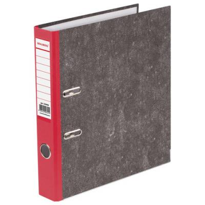 Папка-регистратор BRAUBERG, фактура стандарт, с мраморным покрытием, 50 мм, красный корешок, 220983 папка регистратор офисмаг фактура стандарт с мраморным покрытием 80 мм синий корешок 225583