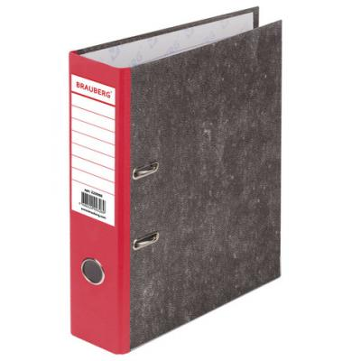 Папка-регистратор BRAUBERG, фактура стандарт, с мраморным покрытием, 80 мм, красный корешок, 220988 папка регистратор офисмаг фактура стандарт с мраморным покрытием 80 мм синий корешок 225583