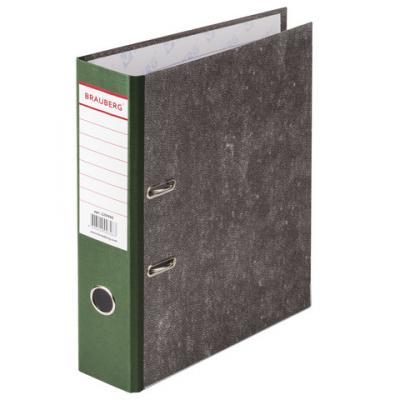 Папка-регистратор BRAUBERG, фактура стандарт, с мраморным покрытием, 80 мм, зеленый корешок, 220990 папка регистратор офисмаг фактура стандарт с мраморным покрытием 80 мм синий корешок 225583
