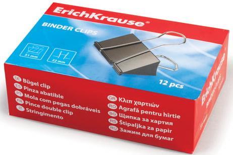 Зажимы для бумаг ERICH KRAUSE, комплект 12 шт., 51 мм, на 240 листов, черные, в картонной коробке, 2981 корзина для бумаг erich krause сетчатая цвет черный 12 литров 3778