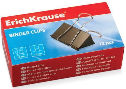Зажимы для бумаг ERICH KRAUSE, комплект 12 шт., 25 мм, на 110 листов, черные, в картонной коробке, 25087 корзина для бумаг erich krause сетчатая цвет черный 12 литров 3778