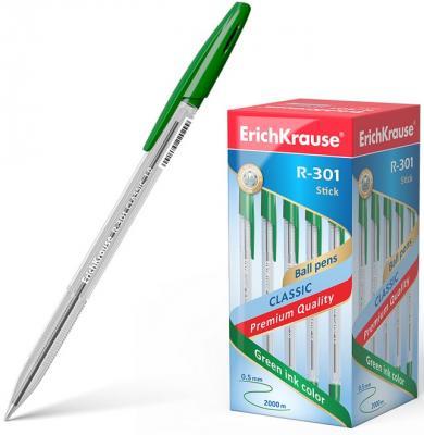 Ручка шариковая ERICH KRAUSE R-301 Classic, корпус прозрачный, узел 1 мм, линия 0,5 мм, зеленая, 43187 erich krause ручка шариковая r 301 orange ek зеленая