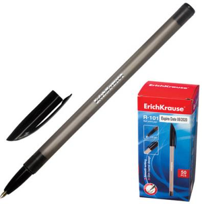 """Ручка шариковая ERICH KRAUSE """"R-101"""", корпус тонированный черный, узел 1 мм, линия 0,5 мм, черная, 33512 цена 2017"""