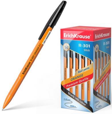 Ручка шариковая ERICH KRAUSE R-301 Orange, корпус оранжевый, узел 0,7 мм, линия 0,35 мм, черная, 43195 erich krause набор шариковых ручек r 301 orange 0 7 stick