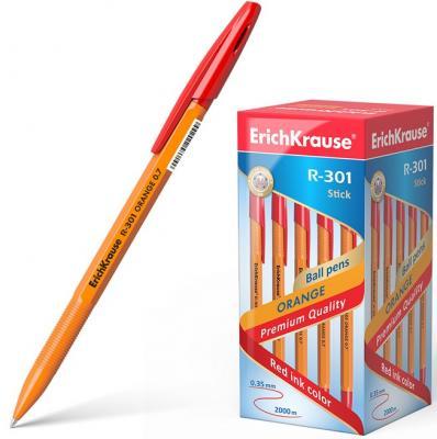 Ручка шариковая ERICH KRAUSE R-301 Orange, корпус оранжевый, узел 0,7 мм, линия 0,35 мм, красная, 43196 erich krause набор шариковых ручек r 301 orange 0 7 stick