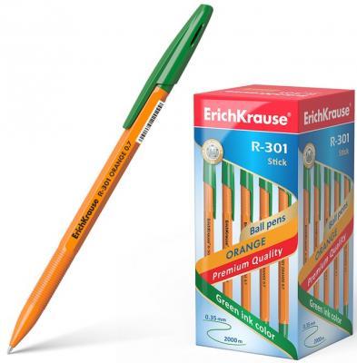 Ручка шариковая ERICH KRAUSE R-301 Orange, корпус оранжевый, узел 0,7 мм, линия 0,35 мм, зеленая, 43197 erich krause ручка шариковая r 301 orange ek зеленая