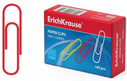 Скрепки ERICH KRAUSE, 33 мм, цветные, 100 шт., в картонной коробке, 24872 скрепки цветные