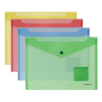 Папка-конверт с кнопкой ERICH KRAUSE Classic, B5, полупрозрачная, до 120 листов, 180 мкм, ассорти, 44432 папка портфель erich krause classic а4 800 мкм