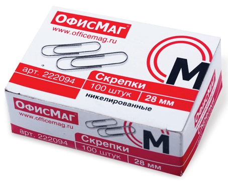 Скрепки ОФИСМАГ Скрепки 100 шт 28 мм серебристый