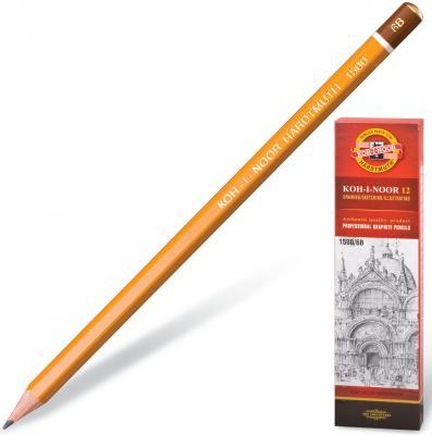 Карандаш чернографитный KOH-I-NOOR 1500, 1 шт., 6B, без резинки, корпус желтый, заточенный, 150006B01170RU карандаш 6b