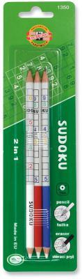 Карандаши чернографитные KOH-I-NOOR, НАБОР 3 шт., Sudoku, 2В, с резинкой, корпус ассорти, блистер, 1350003001BL master sudoku