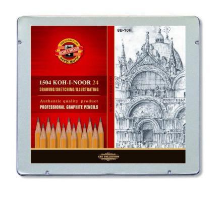 Набор карандашей Koh-i-Noor 1504024001PL 24 шт 175 мм чернографитный набор угольных карандашей koh i noor gioconda 3 шт