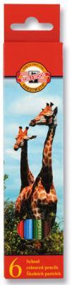 Карандаши цветные KOH-I-NOOR Animals, 6 цветов, грифель 2,8 мм, заточенные, европодвес, 3551006008KSRU