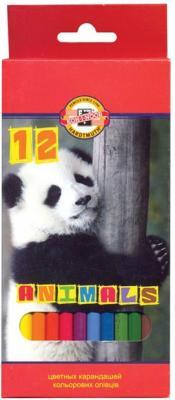 Карандаши цветные KOH-I-NOOR Animals, 12 цветов, грифель 2,8 мм, заточенные, европодвес, 3552012008KSRU