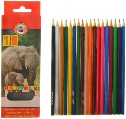 Карандаши цветные KOH-I-NOOR Animals, 18 цветов, грифель 2,8 мм, заточенные, европодвес, 3553018008KSRU