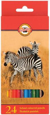 Карандаши цветные KOH-I-NOOR Animals, 24 цвета, грифель 2,8 мм, заточенные, европодвес, 3554024008KSRU