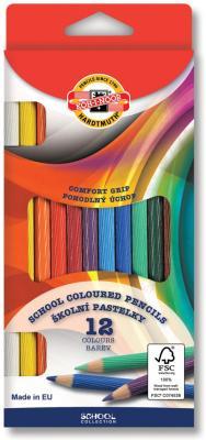 Карандаши цветные KOH-I-NOOR, 12 цветов, грифель 3,2 мм, рифленый корпус, заточенные, европодвес, 2112012001KS