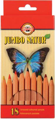 Набор цветных карандашей Koh-i-Noor Jumbo natur 18 шт 175 мм утолщенные