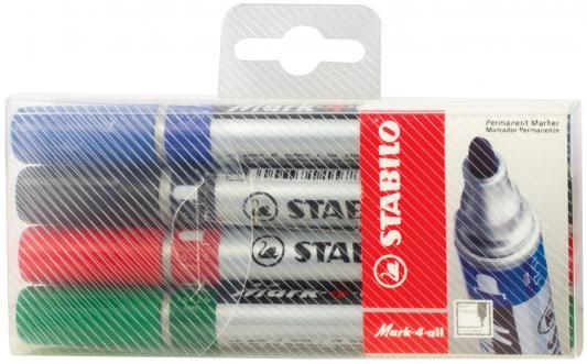 Набор маркеров перманентных Stabilo Mark 4 шт черный зеленый синий красный набор маркеров stabilo plan 4 шт page 9