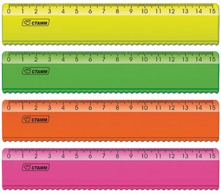 Линейка СТАММ ЛН170 15 см пластик 210499 еж стайл линейка коняшка цвет антрацитовый 15 см