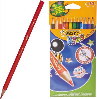 Карандаши цветные BIC Kids ECOlutions Evolution, 12 цветов, пластиковые, заточенные, европодвес, 82902910 фломастеры bic kids colour