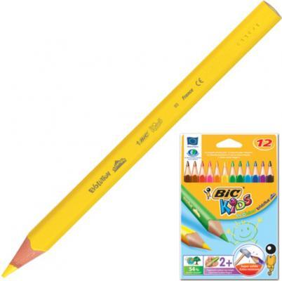 Карандаши цветные утолщенные BIC Triangle, 12 цветов, пластиковые, трехгранные, картонная упаковка, 829735 карандаши bic kids