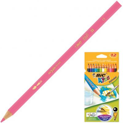 Карандаши цветные акварельные BIC Aquacouleur, 12 цветов, заточенные, европодвес, 8575613 ручки и карандаши bic эво триенжел