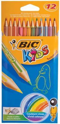 Карандаши цветные BIC Tropicolors 2, 12 цветов, пластиковые, заточенные, европодвес, 8325666 карандаши bic kids