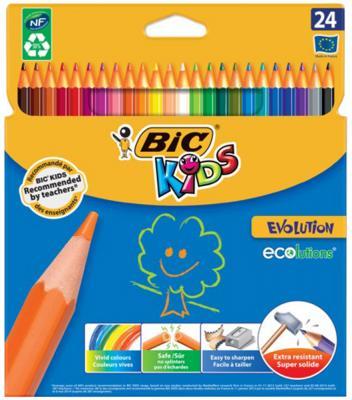Карандаши цветные BIC Kids ECOlutions Evolution, 24 цвета, пластиковые, заточенные, европодвес, 937515 фломастеры bic kids colour