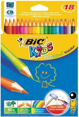 Карандаши цветные BIC Kids ECOlutions Evolution, 18 цветов, пластиковые, заточенные, европодвес, 937513 карандаши bic kids