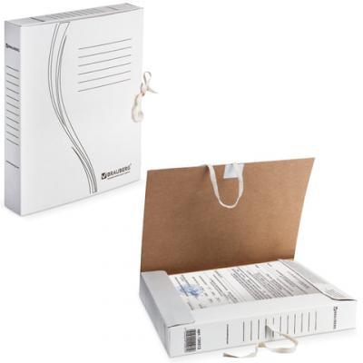 Папка архивная с завязками, микрогофрокартон, 45 мм, до 400 листов, плотная, белая, BRAUBERG, 126512