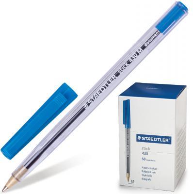 Ручка шариковая STAEDTLER Stick Document, корпус прозрачный, узел 1,2 мм, линия 0,5 мм, синяя, 430 M 03 ручка капиллярная staedtler triplus broadliner 338 box338 30 цвет чернил голубой 10 шт