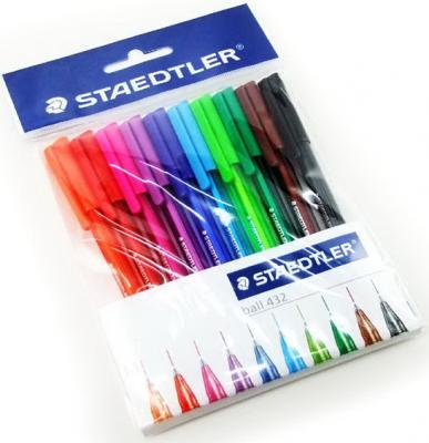 Ручки шариковые STAEDTLER, набор 10 шт., Ball, трехгранные, узел 1 мм, линия 0,5 мм, ассорти, 43235MPB10