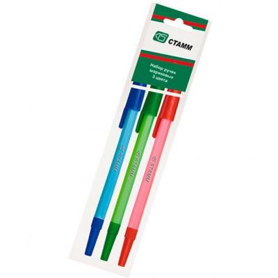 Набор шариковых ручек шариковая СТАММ РШ06 3 шт зеленый синий красный 0.7 мм